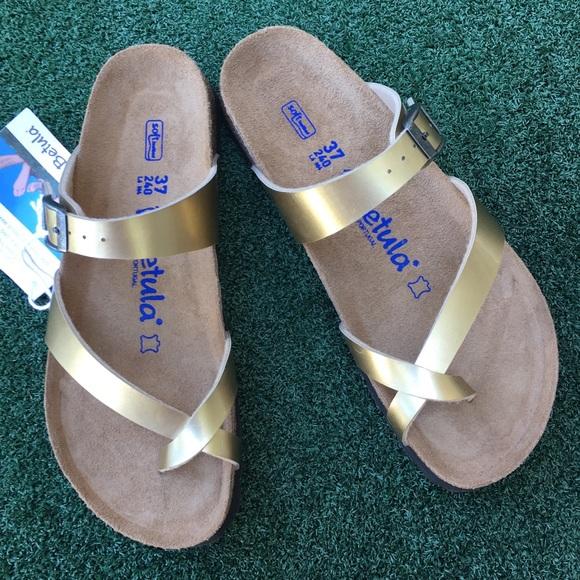 NWT Birkenstock Betula Mia Footbed Sandal Gold NWT